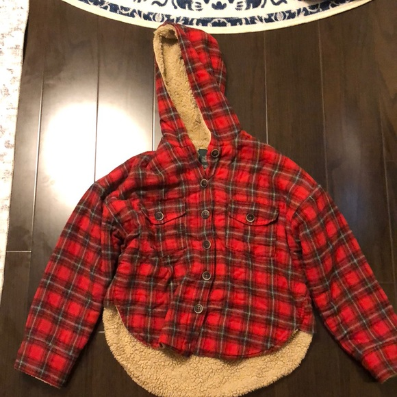 Sherpa style fleece lined red plaid hoodie